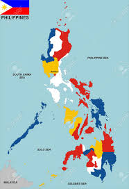 Map Of Phillipines Very Big Size Philippines Political Map With Flag Stock Photo
