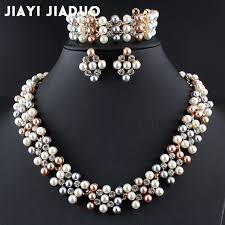 aliexpress necklace set images Jiayijiaduo bridal jewelry set for momen imitation pearl gold jpg