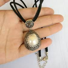 handmade necklace pendants images 25cm leather chain with nature pearl necklace unisex short jpg