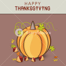 happy thanksgiving day concept with pumpkin on grey and brown