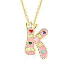 free shipping trend necklace letter k colorful heart neacklace in