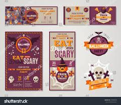 set of happy halloween greeting cards or flyers vector
