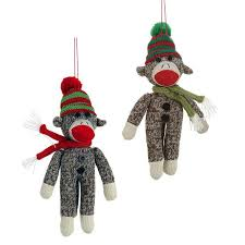 sock monkey tree fabric ornament set 2 nova68