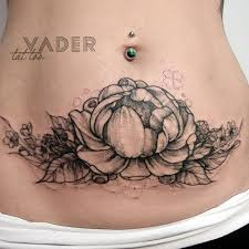 peony tattoo on tanya u0027s stomach to hide stretch marks