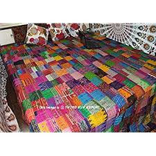 multicolor paisley print king size kantha quilt