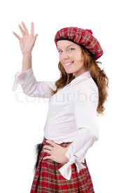 young woman in traditional scottish clothing stock photo colourbox