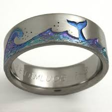 titanium wedding rings echo 1 titanium ring with whales titanium wedding rings