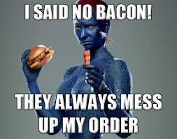 mystique x men meme commercial bacon comics and memes