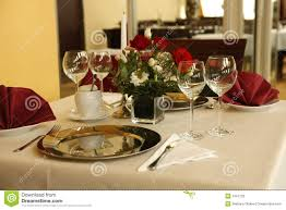 fine table setting in gourmet restaurant stock photography image