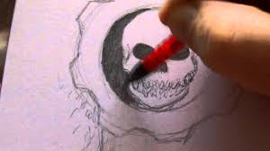 how to draw the gears of war symbol youtube