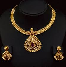 gold jewelry designs necklace images Antique gold necklace with trendy locket jewellery designs gif