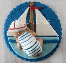 sailboat sailor nautical baby cake topper baby shower favor