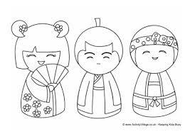 kokeshi dolls colouring 1