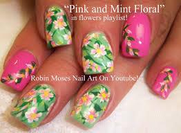 pink and mint flower nail art robin moses nail art videos