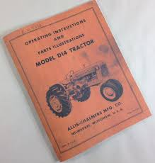 allis chalmers d14 operating operators instructions owners manual
