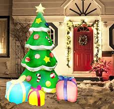 Blow Up Christmas Tree Decoration by 7 Foot Led Light Up Giant Christmas Tree Inflatable With 3 Gift
