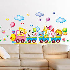 Kids Room Wall Decor Stickers by Aliexpress Com Buy Color Cartoon Train Small Animal Pattern Baby