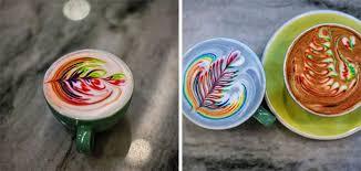 rainbow coffee art made using food dye
