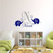 Name Wall Decals For Nursery by Personalised Name Initial Monogram Elephant Wall Decals Nursery