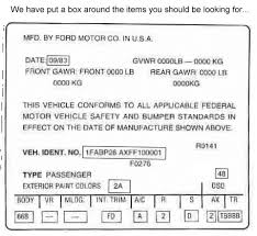 1984 mustang gt vin and door tag decoder form 1982 1993 mustang