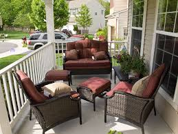 Patio Furniture Ideas by Patio Patio Furniture For Apartment Balcony Maroon And Brown