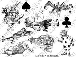 alice wonderland characters rubber stamp sheet 2 sc51