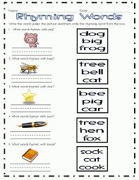 rhyming worksheets for first grade bloomersplantnursery com