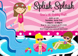 pool party birthday invitation water slide birthday invitations