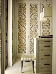 Cloth Closet Doors Wallpapered Closet Doors Transitional Closet S R Gambrel