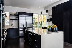 fabulous parallel shape white and black kitchen with black color