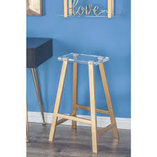 28 in x 18 in metal and acrylic gold a shaped stool 84396 the