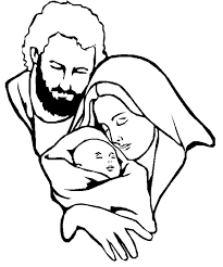 mary and baby jesus and christmas star coloring page free clip