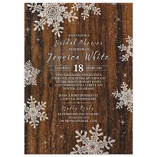 rustic bridal shower invitations rustic snowflake bridal shower invitation