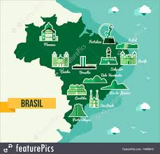 Rio On Map Illustration Of Landmark Brazil Map Silhouette Icon