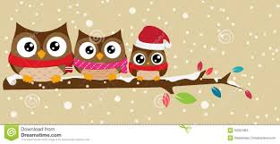 owl christmas owl family on the branch christmas banner stock vector