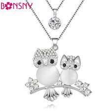 crystal owl necklace images Bonsny chain 2017 new colorful crystal owl necklace animal choker jpeg