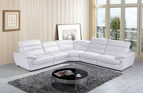 White Leather Sectional Sofa Divani Casa Hana Modern White Leather Sectional Sofa
