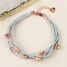 multi heart bracelet images Multi strand heart bracelet in grey and rose gold lisa angel jpg