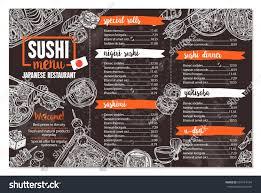 sushi japanese food restaurant menu sketch stock vector 651614164