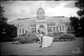 franklin park conservatory wedding black and white image of the and groom in front of