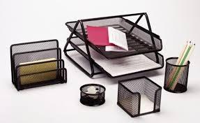 Black Wire Mesh Desk Accessories Metal Mesh Desk Set 5 Pcs Black