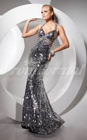 stunning silver gold mermaid halter sweep train sequined prom
