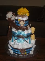 monkey diaper cake jungle theme baby shower centerpiece or gift