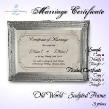 second life marketplace marriage certificate old world