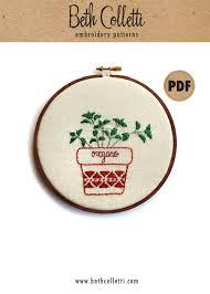 oregano pdf embroidery pattern botanical art embroidery hoop art