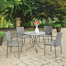 patio table with 4 chairs umbria concrete tile 5 pc round outdoor table 4 chairs by home