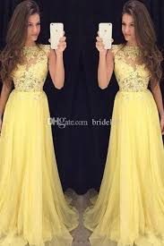 2017 yellow prom dress for juniors a line lace appliques
