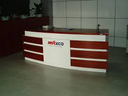 office reception desk in walnut wood and white finish with glass
