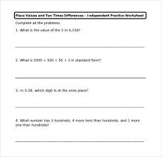 sample place value worksheet 13 free documents in pdf word