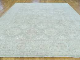 Green Persian Rug 9 U0027x12 U0027 Hand Knotted White Wash Peshawar Light Green Oriental Rug